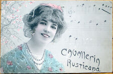1902 Art Nouveau Postcard: Woman & Music Notes - 'Cavalleria Rusticana'