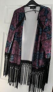 MINKPINK Kimono Size M/L (UK 12-14) Boho Crushed Velvet with Tassels