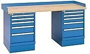 "LISTA XSWB62-72BT - 72"" x 30"" Industrial Workbench,2 Cabinet,10 Drawers,Wood Top"