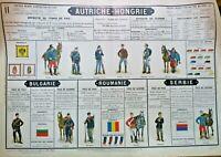 Autriche-Hongrie  planche 90 x 60 cm Tableaux muraux d'instruction militaire