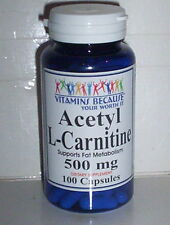 ACETYL L-CARNITINE - 500 MG - SUPPORTS FAT METABOLISM SUPPLEMENT 100 CAPSULES