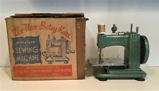 The New Betsy Ross Miniature Hand Crank Sewing Machine with Original Box Green