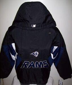 LOS ANGELES RAMS Starter Hooded Half Zip Pullover Jacket  BLACK