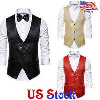 Men's Formal Jacket Vest Sequined Business Wedding Party Waistcoat Bow Tie Coat
