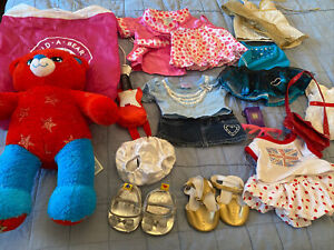 Build A Bear Bundle - 6 Outfits, 2 Pairs Shoes, Bear and Accessories