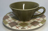 Matceramica Coffee Tea Cup & Saucer Made In Portugal Green, Brown, Orange Plaid