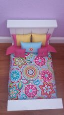 HANDMADE 6 PC BEDDING SET BRIGHT FLORAL  INSPIRED FOR  AMERICAN GIRL DOLL BED