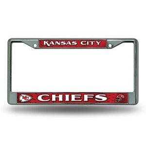 Kansas City Chiefs COLOR Metal Chrome License Plate Frame Auto Truck Car NWT