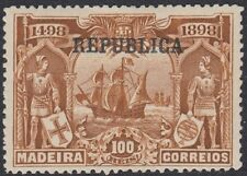 PORTUGAL:1911 100 reis brownVasco da Gama MADIERA  opt REPUBLICA SG461 mint