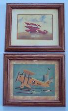 Lot 2 Biplane Tinplate Model Triplane Framed Art Prints art.com yellow red NEW