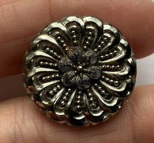 """Antique Vintage Silver Luster Lacy Black Glass Button With Flower 7/8"""""""