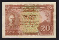MALAYA P-9a.. (1941) 20 Cents.. King George VI Portrait..  gEF