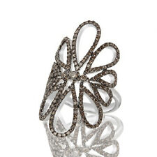 Brown Diamond Flower Engagement Ring New .925 Solid Sterling Silver 1.2ct Round