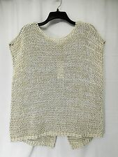 Eileen Fisher Jewel Neck Top XL Organic Cotton Tape Knit Wrap Back Bone $238 New