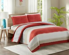 3 Piece Quilted Bedspread Throw Comforter & 2 Pillowcases Double Size Quilt YJ18