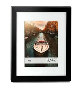 """Cavepop 16x20"""" Black Wood Poster Frame with White Mat to Display 11x14"""" Photo"""