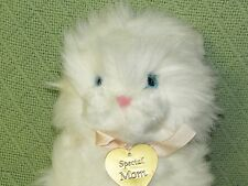 Vintage Dakin White PERSIAN CAT + Gold Tone MOM Heart Charm 1988 Blue Eyes 10""