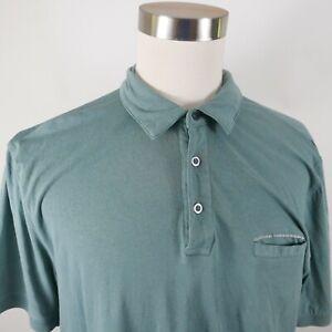 Alexander Julian Colours Mens Stretch Cotton SS Solid Teal Blue Polo Shirt XL