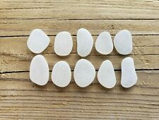 Sea Glass. 10 pendant-shaped pcs. White (Clear). JQ. Surf-tumbled & frosted.