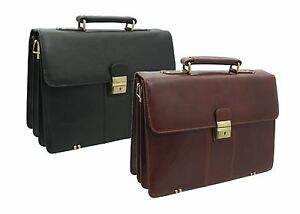Visconti Tuscan Collection WARWICK Leather Briefcase With Grab Handle 01775
