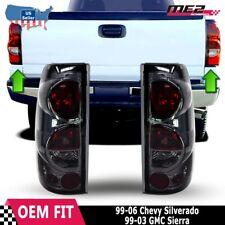 For 99-06 CHEVY SILVERADO 99-03 GMC SIERRA Chrome Smoke Tail Light Lamp Pair Set