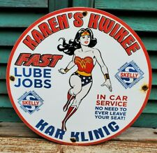 Retro 1963 Dated Karen'S Kwikee Skelly Oil & Gas Porcelain Enamel Gas Sign