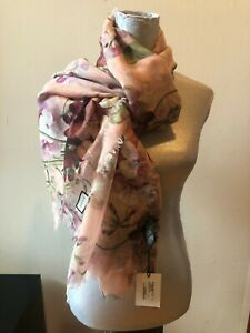 NEW GUCCI GERANEA BLOOMS  CASHMERE WOOL OVERSIZE SCARF SCARVES WRAP PINK