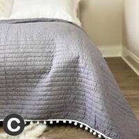 Luxury Double / King Size Heather Grey Embroidered Stars Pom Pom Bedspread Throw