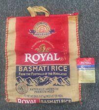 Royal Basmati Rice BURLAP Tote BAG Boho Crafting Bag w/ Zipper