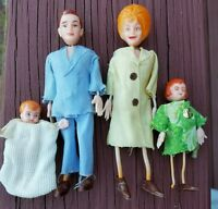 Marx Twistoys Dollhouse Doll Family, Four Dolls, 1970s RARE & Hard To Find!