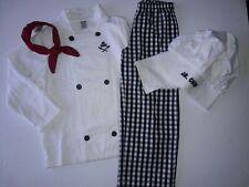 Gymboree Jr Chef 4 pc Costume Sz S 5 6 boys girls Euc black white red rare Cute!
