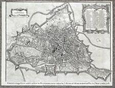 GHENT, BELGIUM, City plan, Rapin/Tindal original antique map 1745