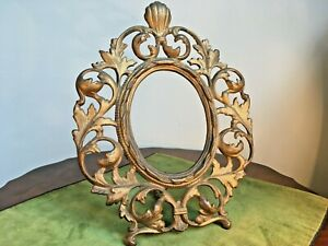 Antique late Victorian Standing Iron Picture Frame Original Gold Painted Surface