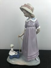 Lladro Porcelain Girl Firgurine Toy Wagon 5044 - Retired - Pulling Doll Carriage