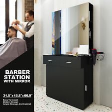 Black Wall Mount Barber Station W/Mirror Dressing Table Beauty Spa Salon Styling