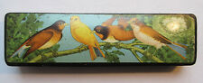 old Pencil box French, black paper mache, chromo: Birds canaries and nest