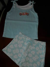 Gymboree Floral Reef Hawaiian hibiscus knit shorts light blue car top 5t 5