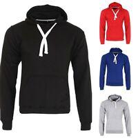 Men's Boys Fleece Plain Hoodie Sweatshirt Hooded Pull over Casual Gym Adult Top
