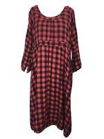 Masai Dress Large 12/14 UK Red Check Gingham Tunic Artist Smock Lagenlook Empire