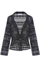 Women Long Sleeves Black Lace Formal Evening Wear to Work Tight Fit Jacket Coat
