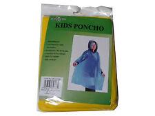 pour enfants Jaune Imperméable vinyle plastique poncho avec Hood - Ages 7 to 10