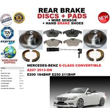 FOR MERCEDES E200 E250 CAB A207 2013-ON REAR BRAKE DISCS + PADS + SENSOR + SHOES