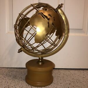 Globe World Map Gold Wood Vintage Style Globe MCM Mid Century Modern Table Decor