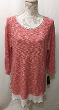 Style & Co Sweater Womens Large Deep Coral Orange White Rivot Hem Neck Trim New