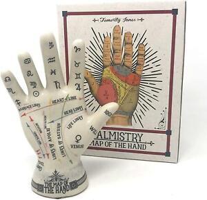 Temerity Jones Ceramic Crackle Phrenology Hand Porcelain Palmistry Palm Reading