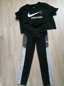 Women Nike Sport Gym Running Legging Top Set Size UK XS