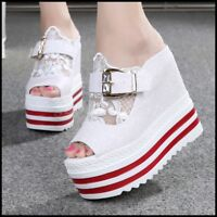 New Womens Summer Open Toe High Wedge Platform Lace Buckle Creepers Sandal Shoes