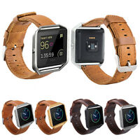 Genuine Leather Watch Band Strap + Metal Frame for Fitbit Blaze Fitness Tracker