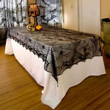 Classic Black Lace Bat Spiderweb Cloth Tablecloth Halloween Home Table Decor WXD