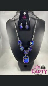 New PAPARAZZI Jewelry -Life Of The Party-RARE BLUE OIL SPILL NECKLACE & EARRINGS